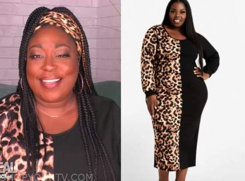 loni love, the real, leopard colorblock dress