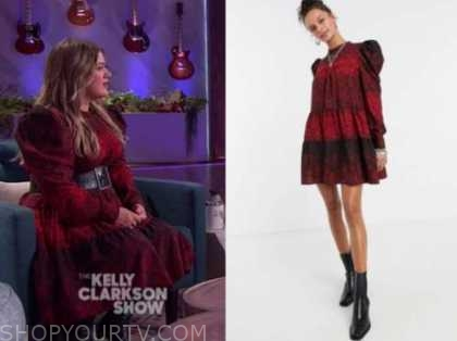 kelly clarkson, the kelly clarkson show, red puff sleeve dress