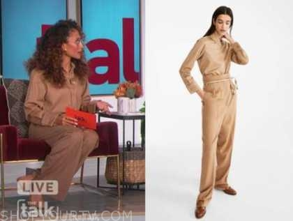elaine welteroth, the talk, camel shirt and pants