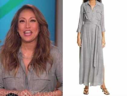 carrie ann inaba, grey plaid shirt dress, the talk