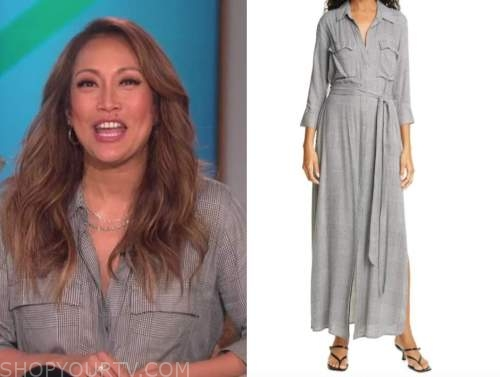 carrie ann inaba, grey plaid shirt dress, the talk