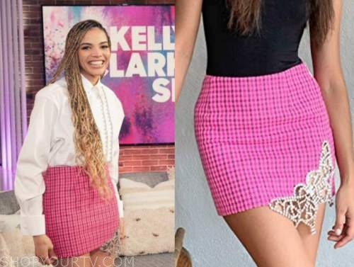 leslie grace, pink check embellished mini skirt, the kelly clarkson show