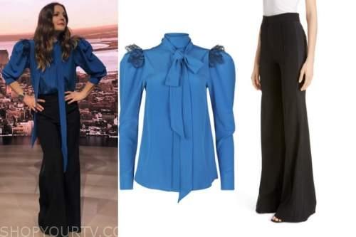 drew barrymore, drew barrymore show, blue lace tie neck blouse, black side stripe pants