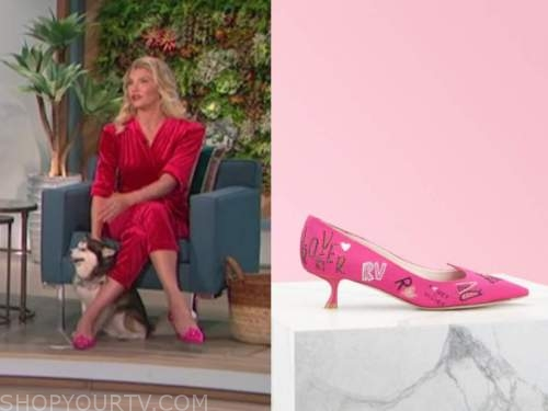 amanda kloots, the talk, pink kitten heels