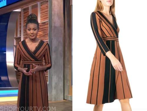 janai norman, good morning america, brown and black striped wrap dress