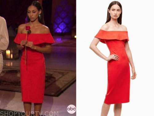 serena pitt, the bachelor, red ruffle off-the-shoulder dress