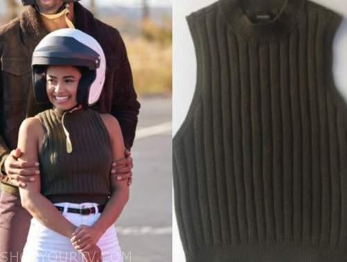 jessenia cruz, the bachelor, green mock neck sleeveless sweater top