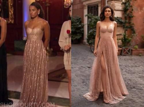 the bachelor, pieper james, rose gold embellished gown