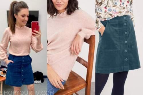 laura tobin, good morning britain, pink jumper, blue skirt