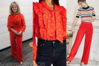 kate garraway, good morning britain, red tie neck dot blouse, red pants