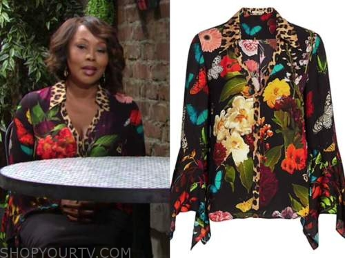 Ptosha Storey, naya benedict, butterfly leopard blouse, the young and the restless