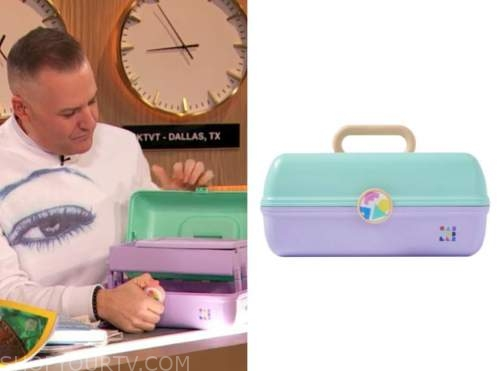 ross mathews, drew barrymore show, teal and purple caboodles cosmetics case