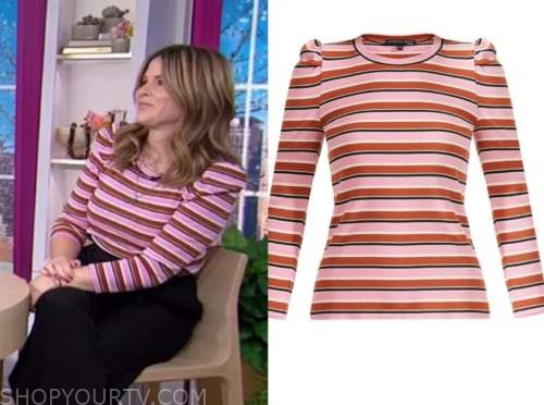 the today show, striped puff sleeve top, jenna bush hager
