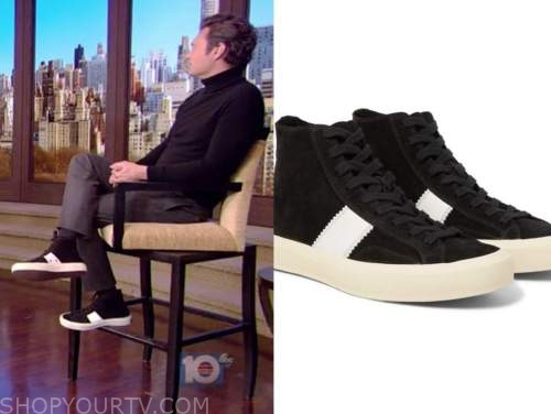 ryan seacrest, black and white stripe suede high top sneakers, live with kelly and ryan