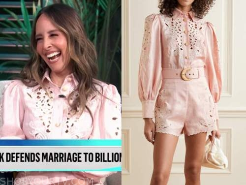 lilliana vazquez, E! news, daily pop, blush pink eyelet shirt and shorts