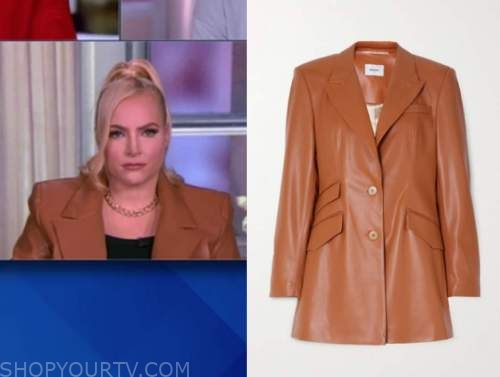 meghan mccain, the view, camel brown leather blazer