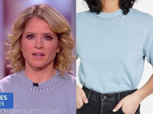 sara haines, the view, blue sweater