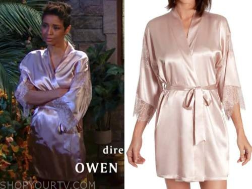 elena dawson, brytni sarpy, the young and the restless, pink satin lace robe