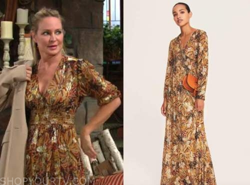 sharon newman, sharon case, the young and the restless, metallic printed maxi dress