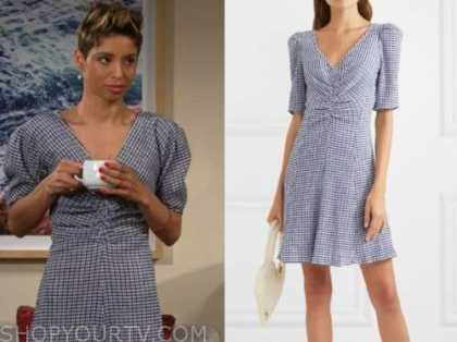 elena dawson, brytni sarpy, blue gingham dress, the young and the restless
