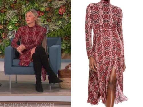 amanda kloots, the talk, red turtleneck printed midi dress