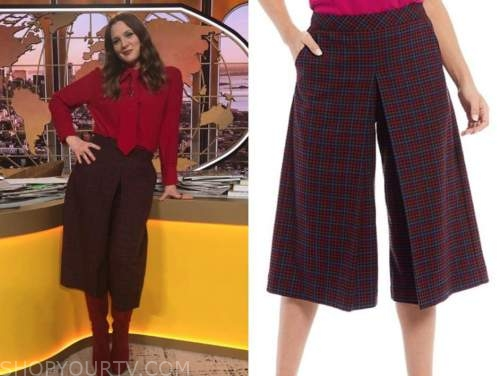 drew barrymore, drew barrymore show, plaid culottes cropped pants