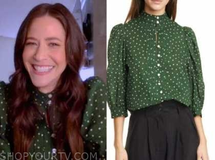 jackie tohn, the kelly clarkson show, green polka dot blouse