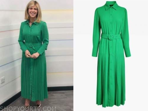 kate garraway, good morning britain, green pleated midi shirt dress