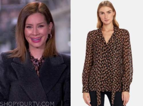 rebecca jarvis, good morning america, paisley tie neck blouse