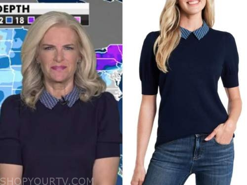 janice dean, fox and friends, navy blue collar short sleeve sweater