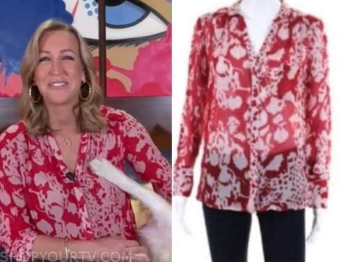 good morning america, red printed blouse, lara spencer