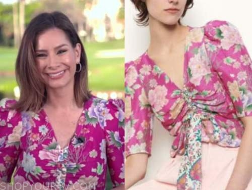 good morning america, pink floral puff sleeve top, rebecca jarvis
