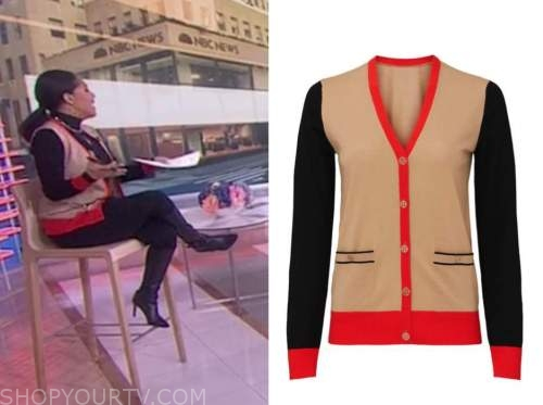 sheinelle jones, the today show, colorblock cardigan sweater