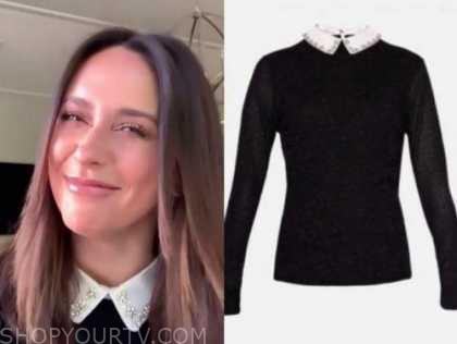 jennifer love hewitt, drew barrymore show, black and white embellished collar sweater