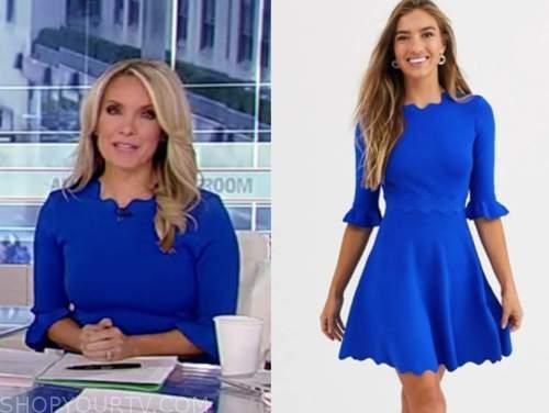 dana perino, america's newsroom, blue scallop dress
