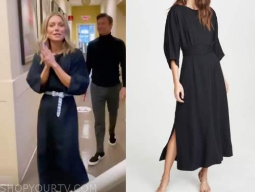 kelly ripa, black midi dress, live with kelly and ryan
