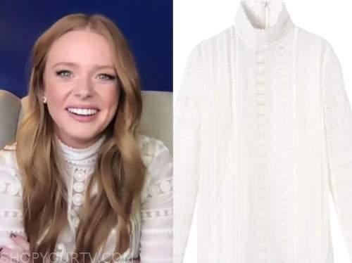 abigail cowen, drew barrymore show, white lace mock neck blouse