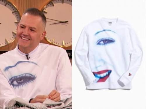 ross mathews, drew barrymore show, white eye sweatshirt