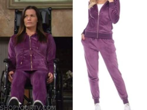 chelsea newman, melissa claire egan, the young and the restless, purple velour track suit