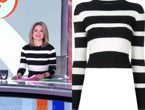 amy robach, good morning america, black and white striped sweater