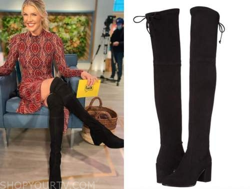 amanda kloots, the talk, black suede over the knee boots