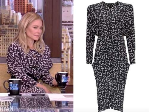 kelly ripa, live with kelly and ryan, black and white dress
