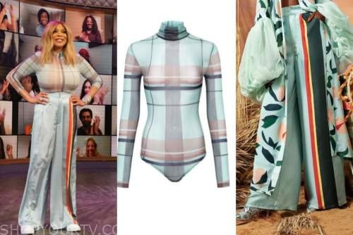 wendy williams, the wendy williams show, plaid turtleneck, side stripe pants