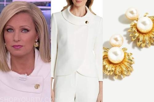 america reports, sandra smith, white jacket, pearl earrings