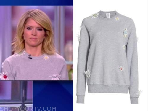 the view, sara haines, grey daisy flower sweater