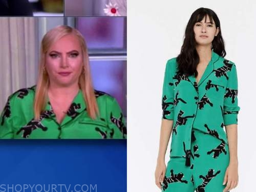 meghan mccain, the view, green and black panther blouse