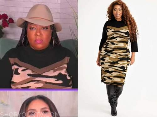 loni love, the real, camo sweater dress
