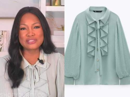 garcelle beauvais, the real, mint green pleated ruffle tie neck blouse