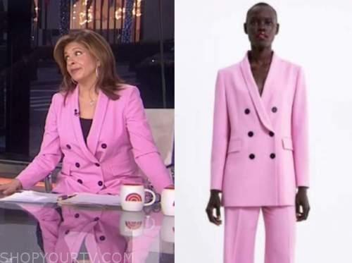 hoda kotb, the today show, pink double breasted blazer,