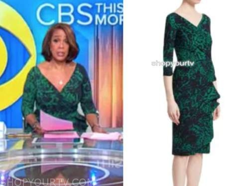 gayle king, cbs this morning, green printed dress